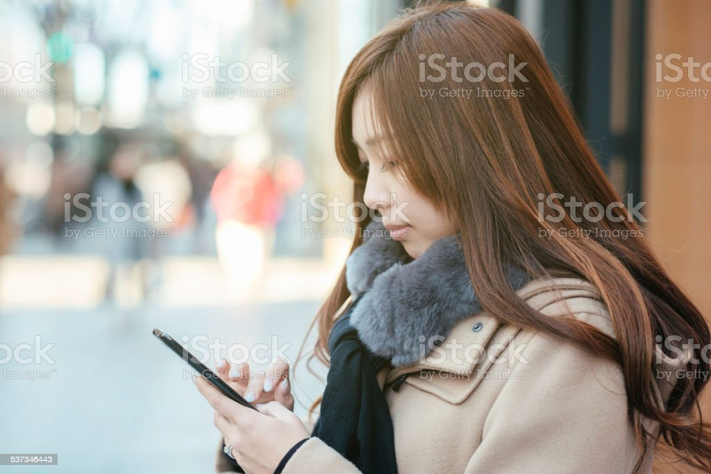 Japanese Woman in Ginza Tokyo royalty-free stock photo