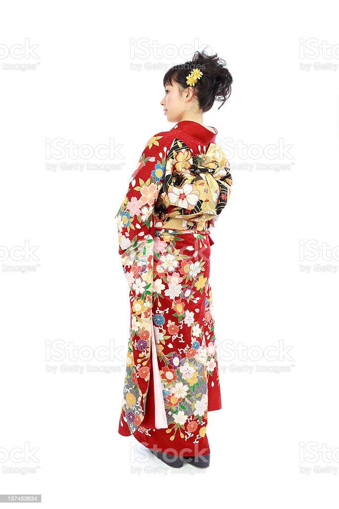 Japanese woman in kimono stock photo