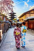 istock Japanese woman in kimono Sakura bloom season 974022734