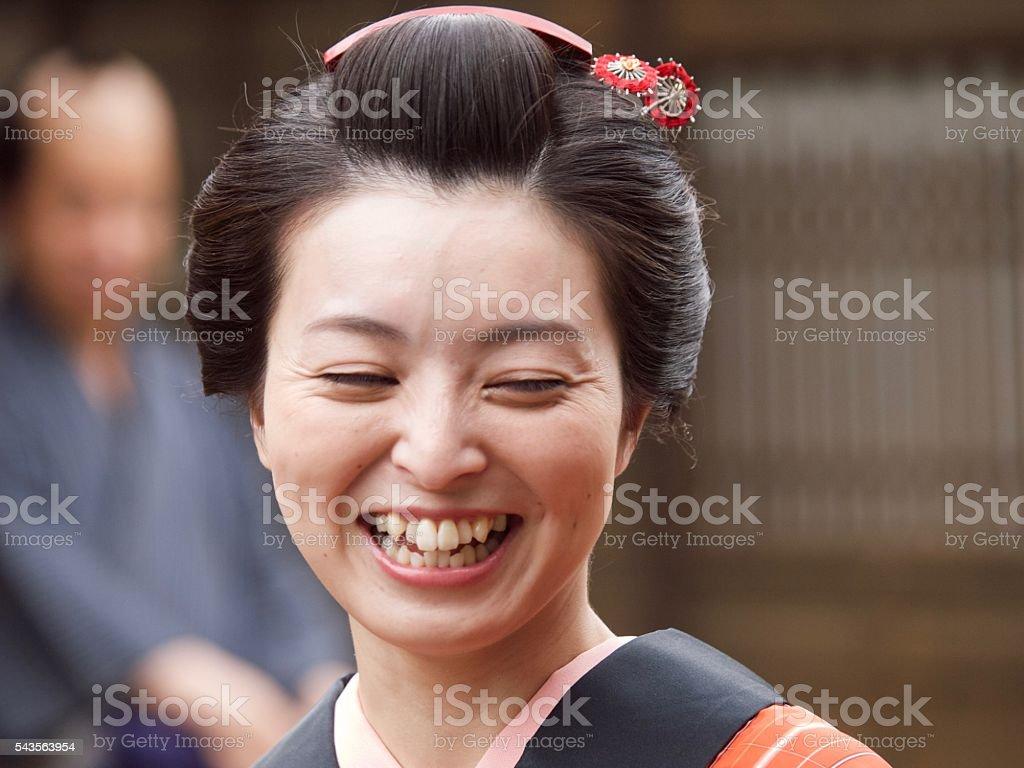 Japanese woman in Kimono style in Edo period stock photo
