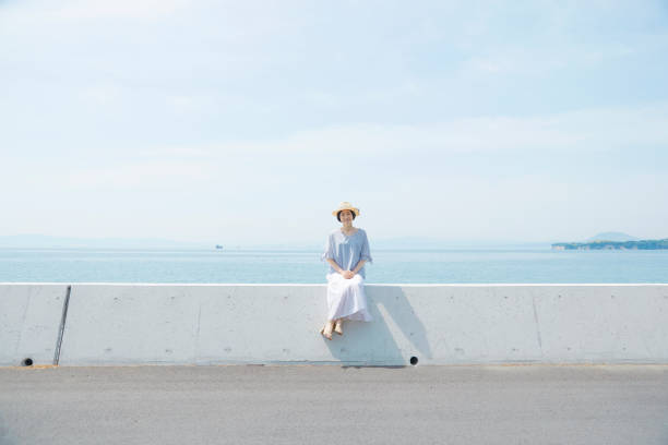 Japanese woman in the summer Japanese woman in the summer groyne stock pictures, royalty-free photos & images