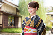 Japanese woman in traditional kimono