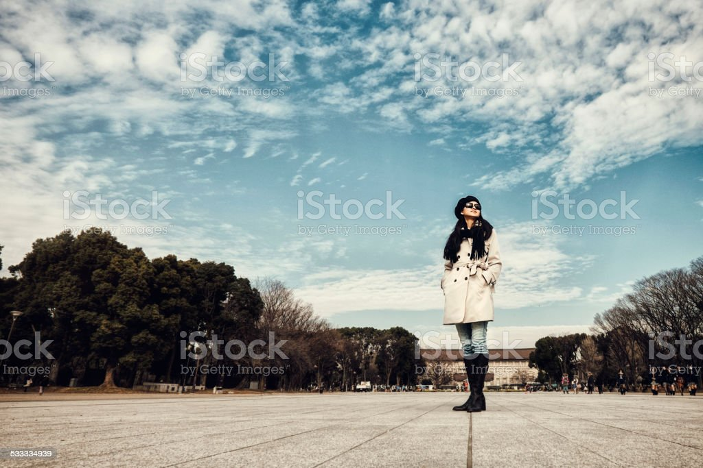 Japanese Woman in Ueno Park stock photo