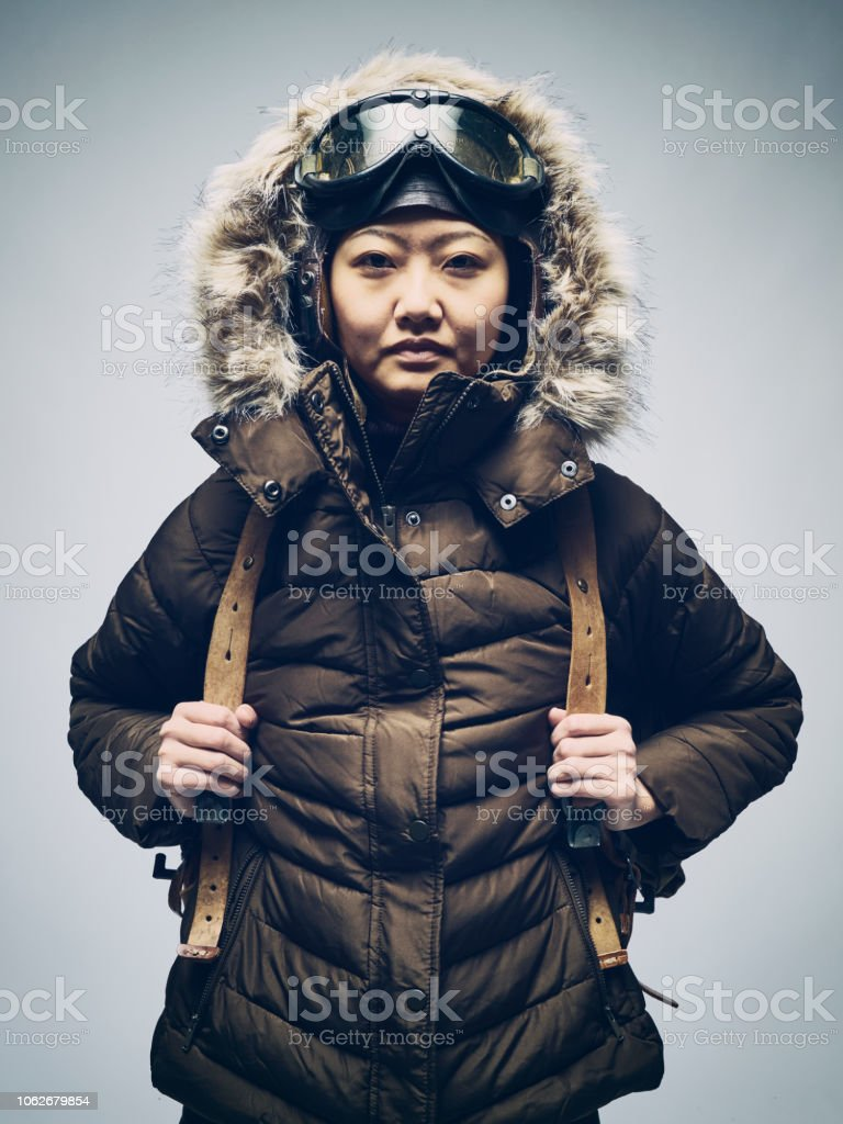 Japanese Woman in Winter Parka stock photo