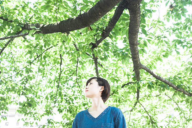 Japanese woman portrait in the shade of a tree ストックフォト