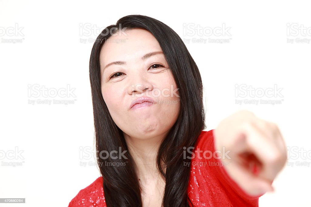Japanese woman scolding stock photo