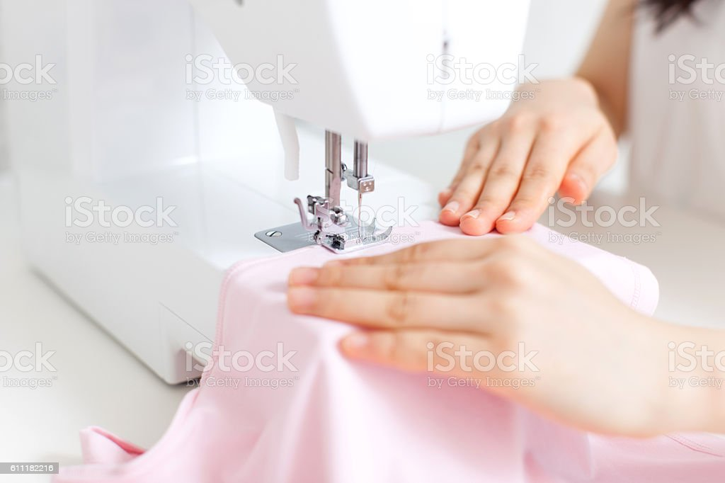 Japanese woman sewing stock photo
