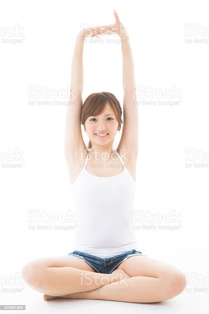 Japanese woman wearing a camisole stock photo