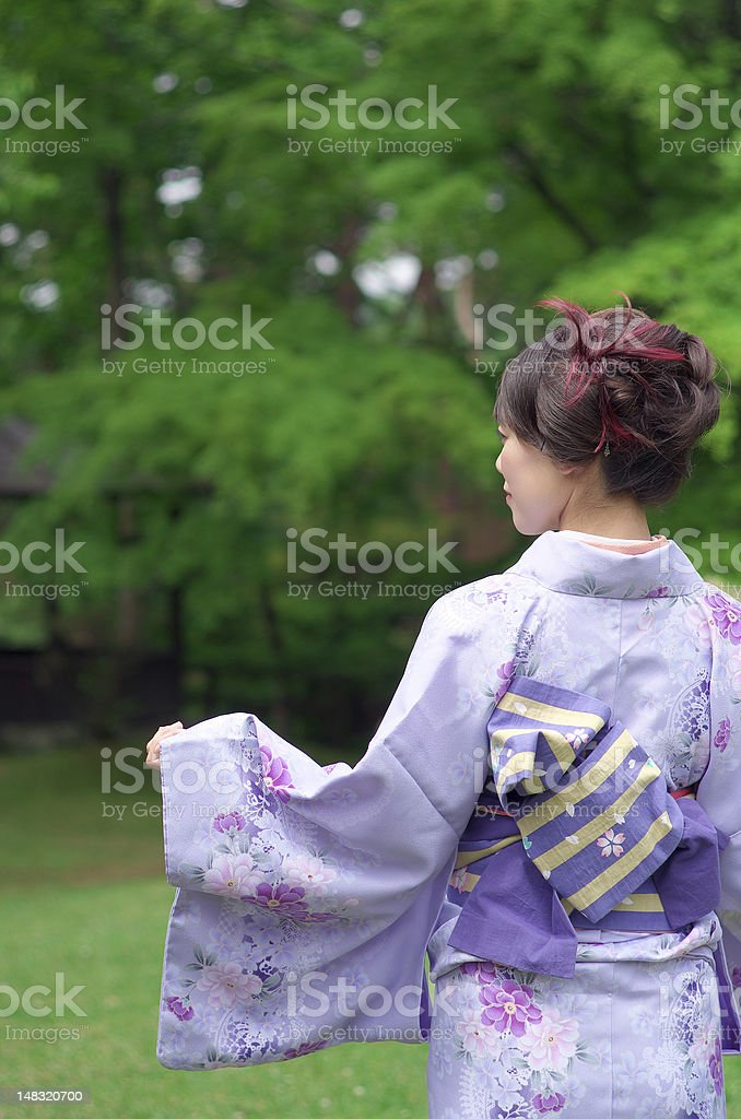 Japanese woman wearing a Kimono From behind stock photo