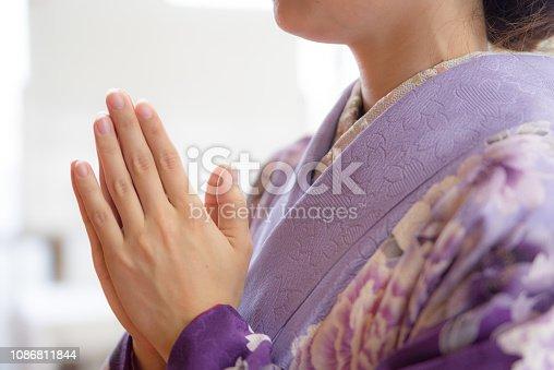 Japanese woman wearing a kimono,worship