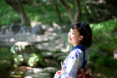 Japanese woman wearing yukata