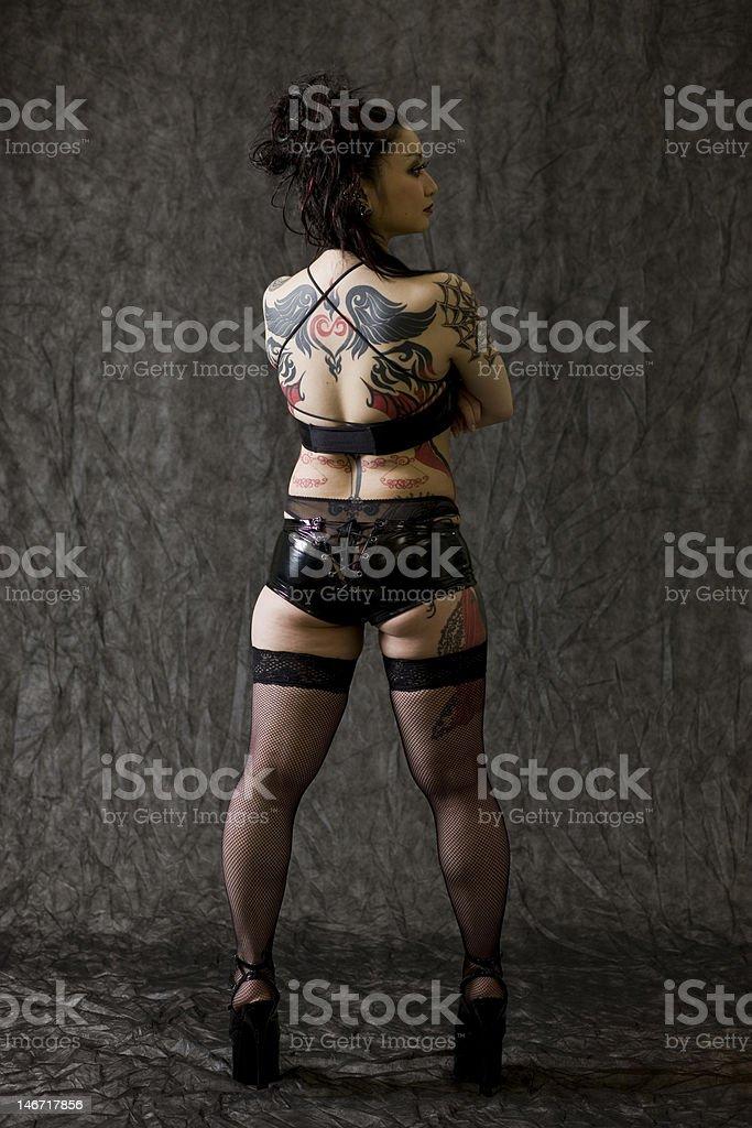 Japanese woman with tattoos stok fotoğrafı