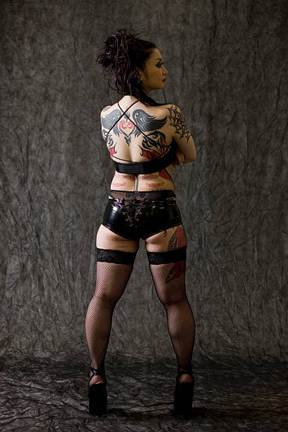 Japanese woman with tattoos stock photo