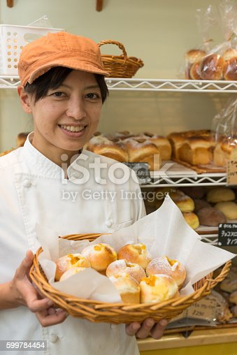 628876250 istock photo Japanese women baker working in the bakery 599784454
