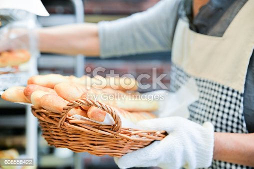 628876250 istock photo Japanese women baker working in the bakery 608558422