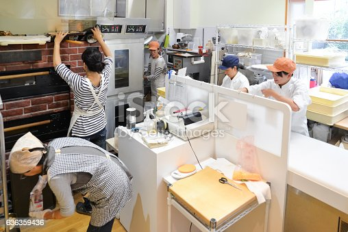 628876250 istock photo Japanese women baker working in the bakery 636359436