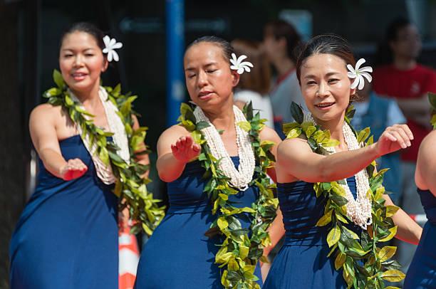 Japanese women dancing stock photo