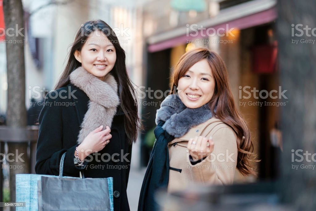 Japanese Women in Ginza Tokyo royalty-free stock photo