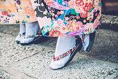 日本の着物を着ている、足袋 鼻緒 、京都,日本