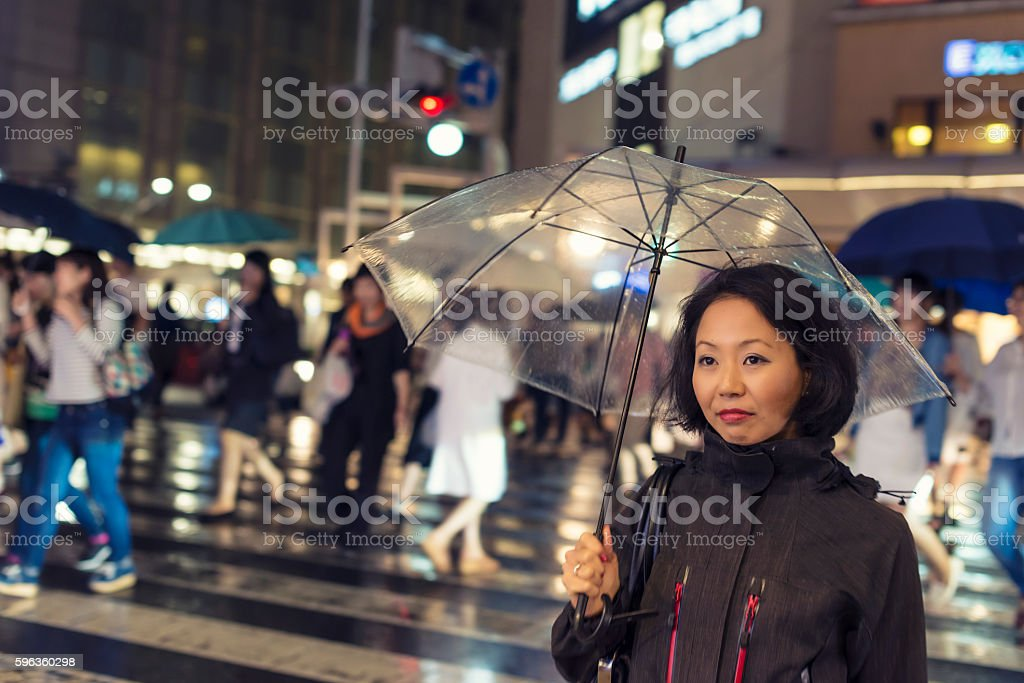 Japanese women in rain at night royalty-free stock photo