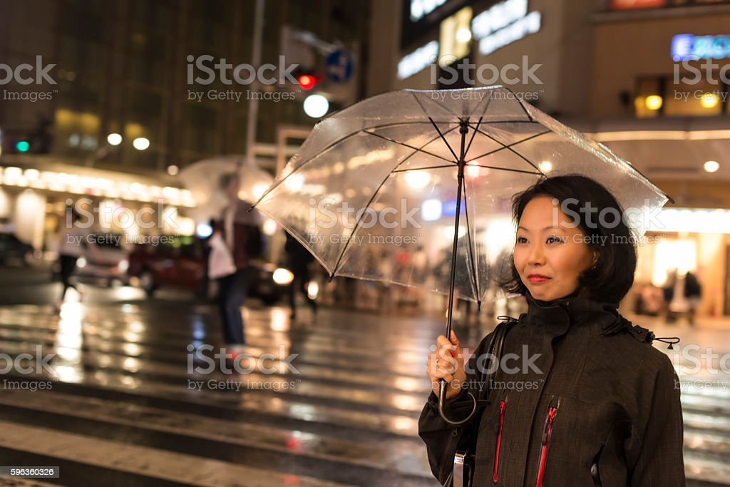 Japanese women in rain at night royalty-free stock photo
