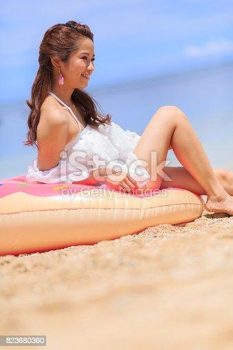 Young female having fun.