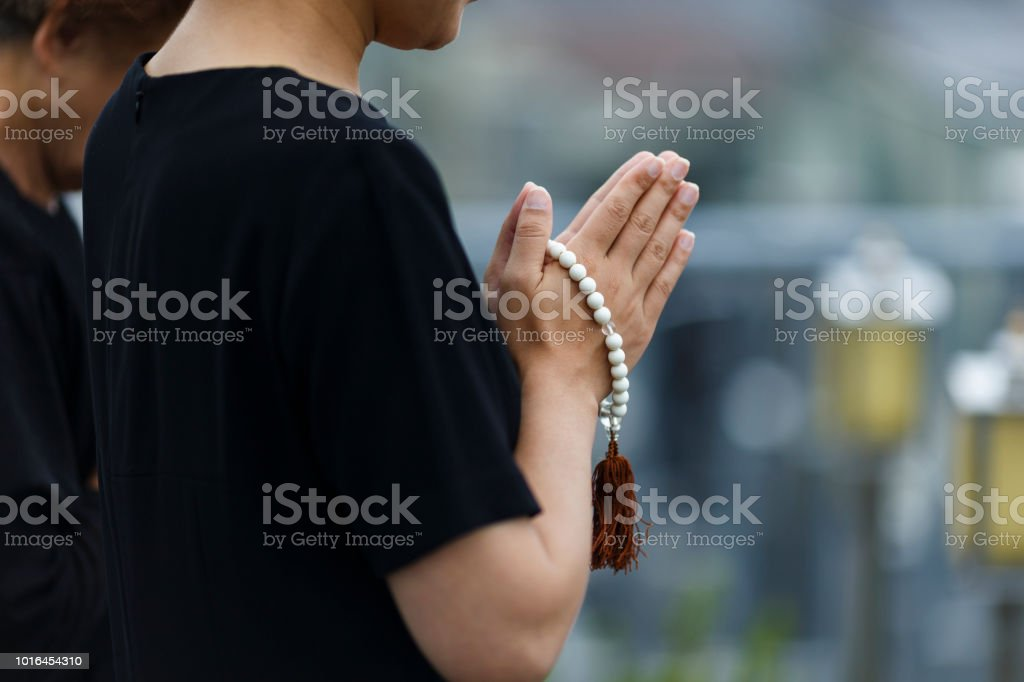 Japanese women wearing mourning clothes stock photo