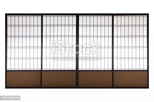 Japanese wood slid door isolated on white background