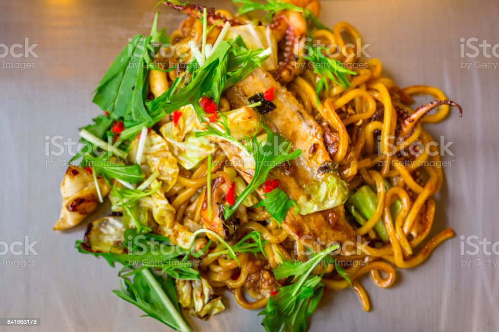 Japanese yakisoba noodles with seafood stock photo