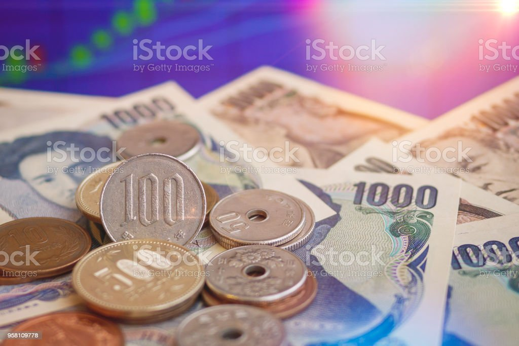 Japanese Yen Banknotes Stack Layers With Stock Chart In Background