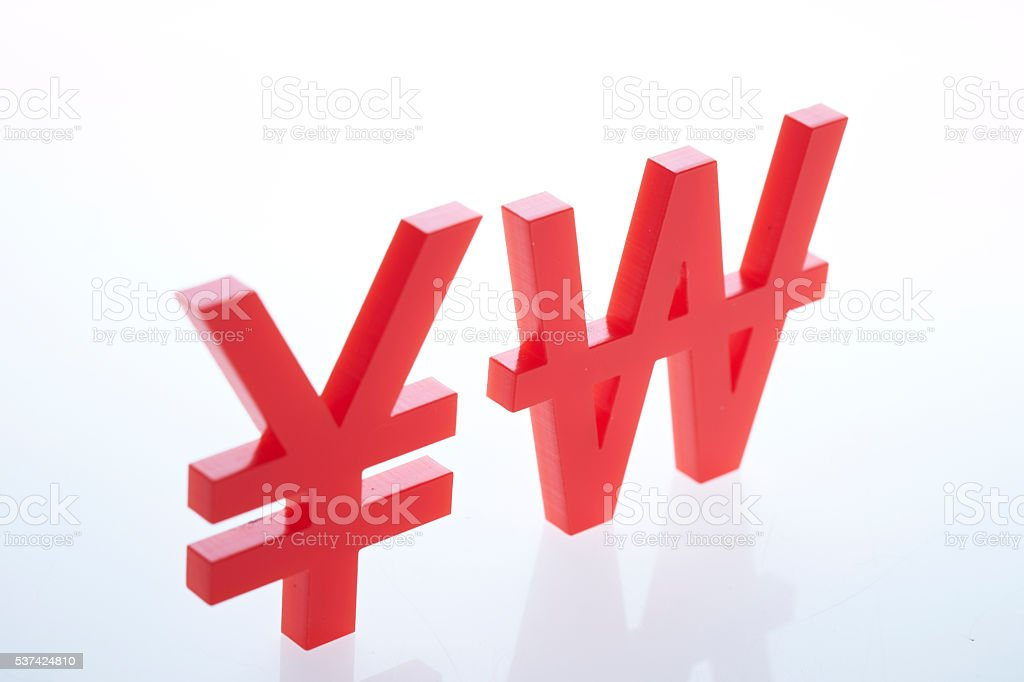 Japanese Yen Chinese Rmb And Korean Won Currency Symbol Stock Photo