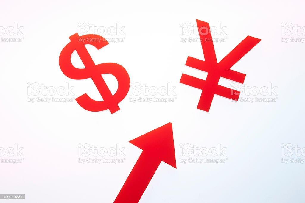 Japanese Yen Chinese Rmb Us Dollar Currency Symbol And Arrow Stock