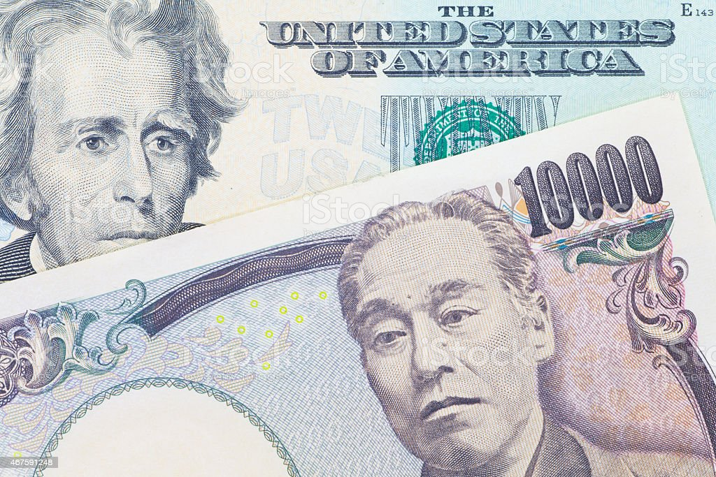 Japanese yen currency and dollar bank note stock photo