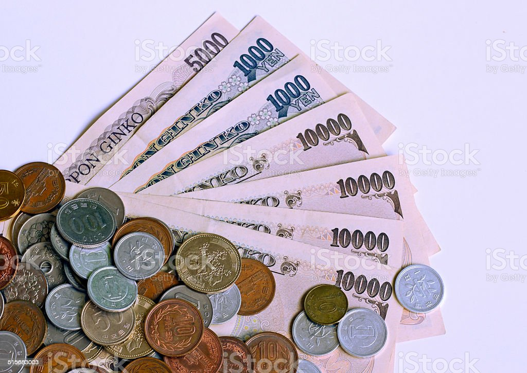 Japanese Yen currency partial view of bills and coins stock photo
