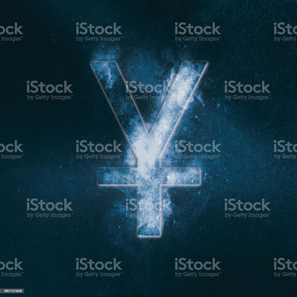 Japanese yen. Japan Yen. Monetary currency symbol. Abstract night sky background. stock photo