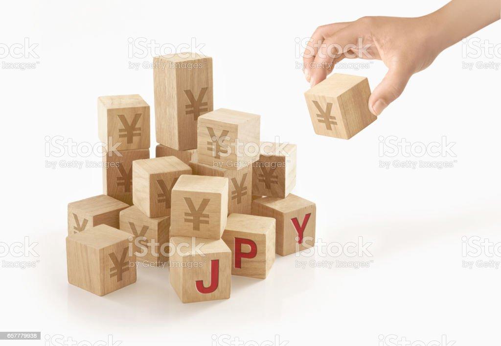 孤立した背景に日本円お金の概念。 ストックフォト