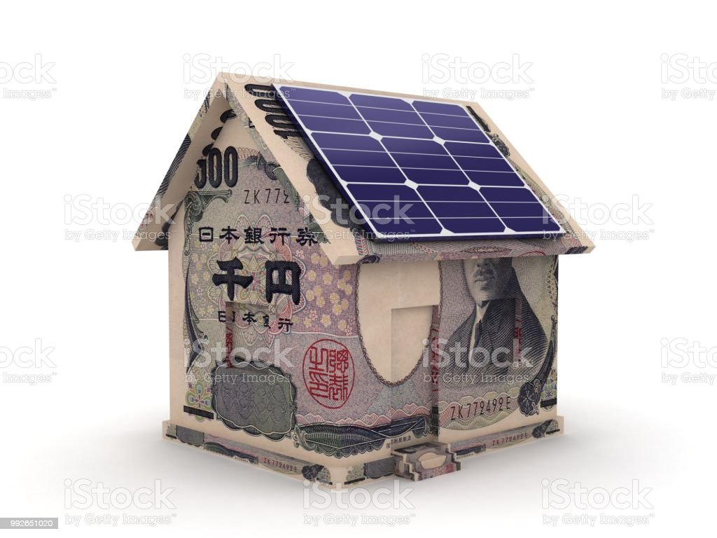 Japanese Yen Money House Solar Panel Savings Investment