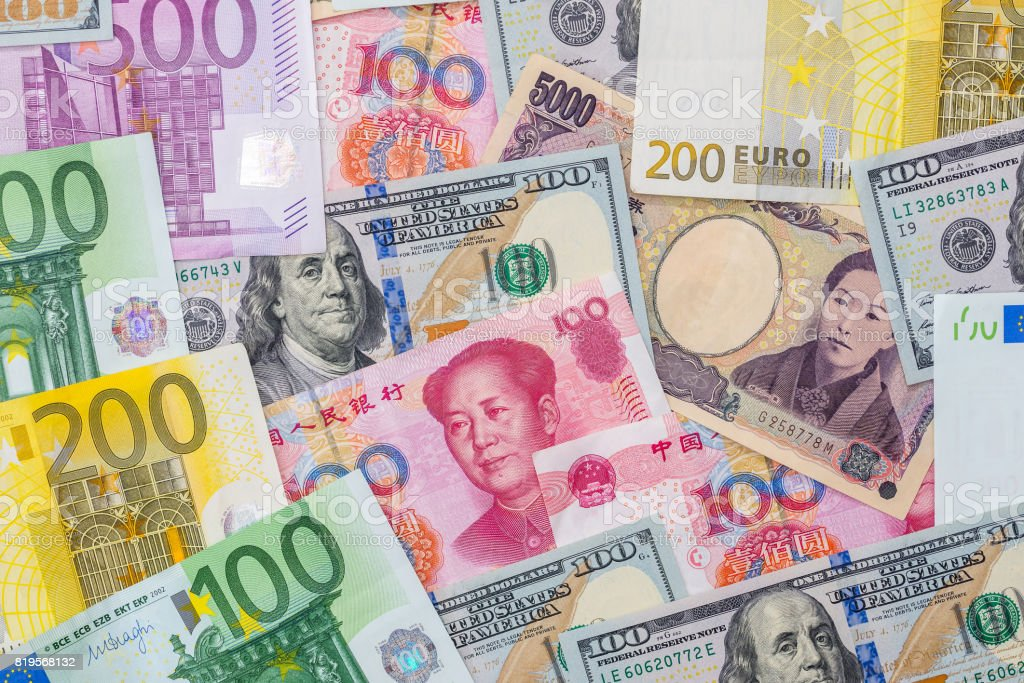 Japanese yen, US dollar, Chinese yuan, Euro. Financial concept. stock photo