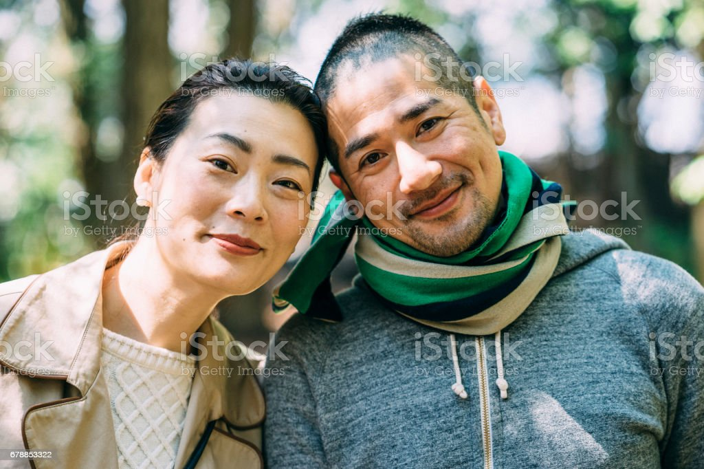 Japanese young adult couple portrait – Foto