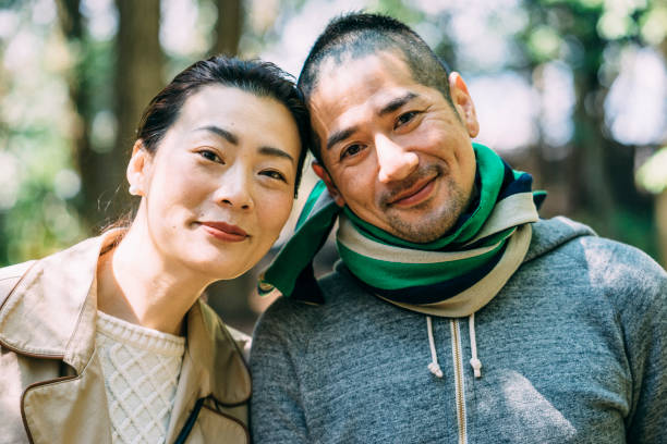 Japanese young adult couple portrait stock photo