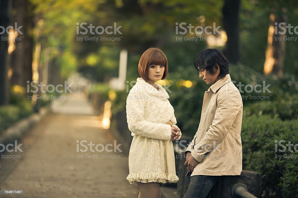 japanese young couple breaking out stock photo