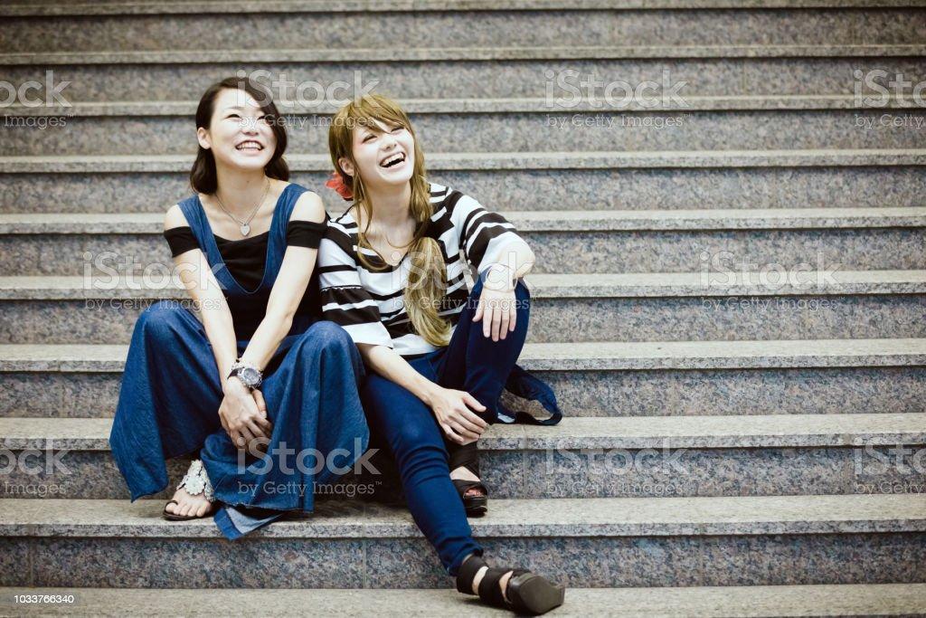 日本の若い女性のカップル ストックフォト