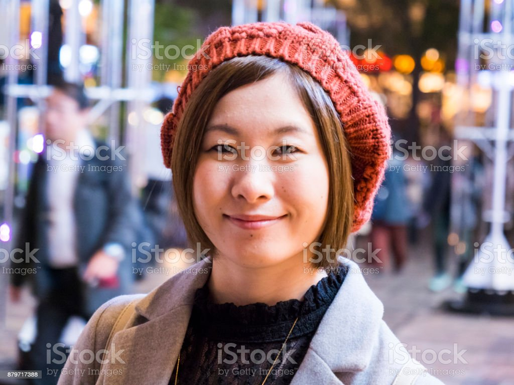 Japanese young lady go shopping after work. stock photo