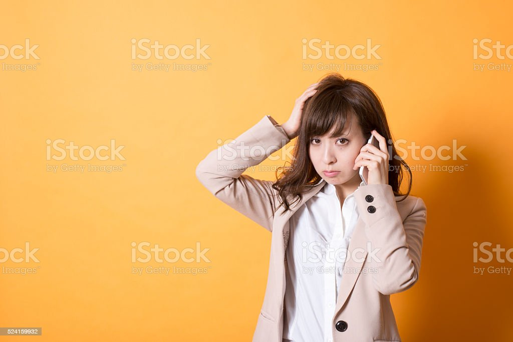 Japanese Young Woman and Smartphone stock photo