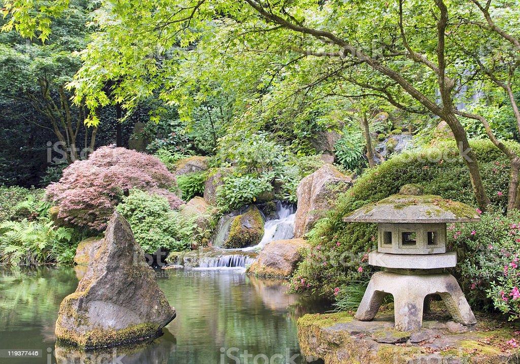 japanese zen garden in portland royalty-free stock photo