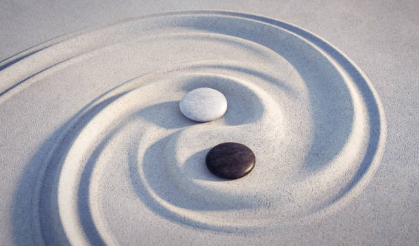 japanese zen garden with textured sand - stock photo - yin yang symbol stock pictures, royalty-free photos & images