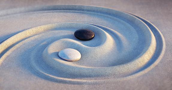 Japanese Rock Garden, Rock Garden, Summer, Yin Yang Symbol, Nature, tranquility