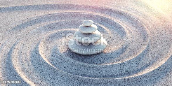 istock Japanese ZEN garden with textured sand - stock photo 1175010909