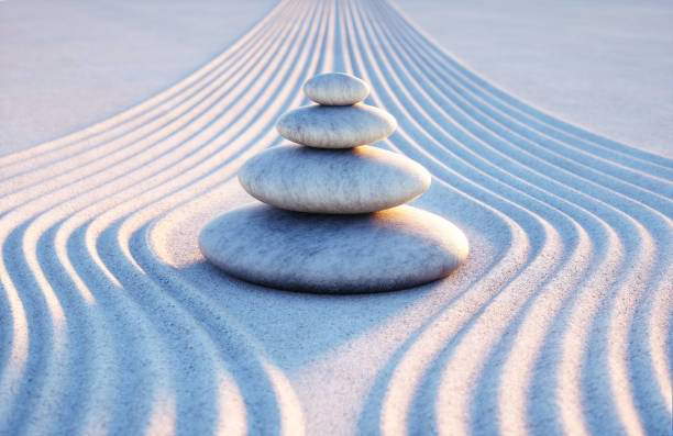 Japanese ZEN garden with textured sand - stock photo Stack of stones ,Japanese Rock Garden, Rock Garden, Summer, Yin Yang Symbol, Nature, tranquility tranquil scene stock pictures, royalty-free photos & images