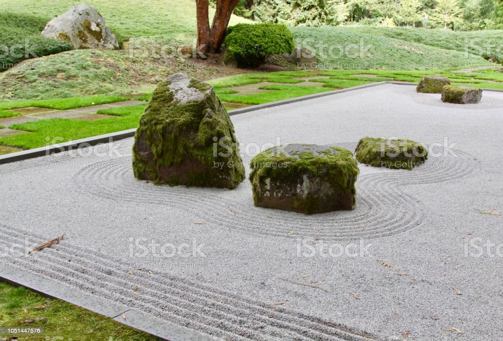 Japanese Zen Gardens With Raked Sand Stock Photo Download Image